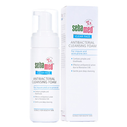 Sữa Rửa Mặt Tạo Bọt Kháng Khuẩn, hỗ trợ Trị Mụn pH5.5 Sebamed Clear Face Antibacterial Cleansing Foam SCF01A (150ml)