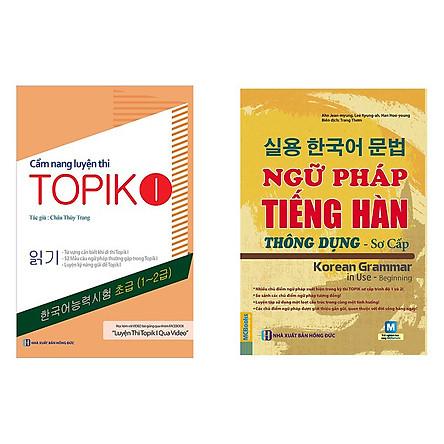 Combo học tiếng hàn sơ cấp ngữ pháp tiếng hàn thông dụng và cẩm nang luyện thi topik tặng 1 cuốn sổ tay