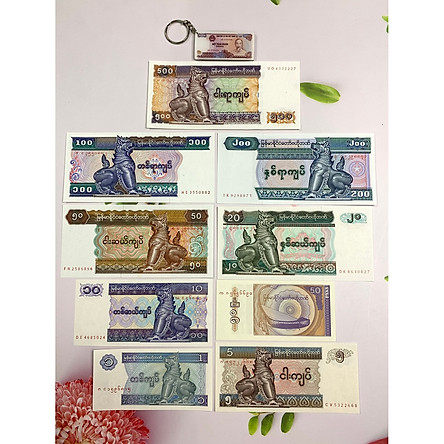 Bộ 9 tờ tiền cổ Myanmar , bộ tiền tỳ hưu phong thủy - tặng kèm móc khóa hình tiền xưa