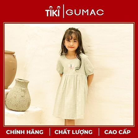 Đầm váy bé gái DKA10123 GUMAC thiết kế  tay phồng thêu bướm