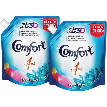 Combo 2 Nước Xả Vải Comfort Một Lần Xả Hương Ban Mai Túi 2.6L