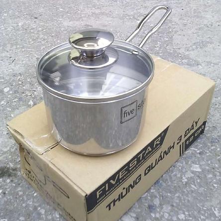 Quánh Nấu Bột Cháo Inox 430 Bếp Từ 3 Đáy Nắp Kính Fivestar (12cm)