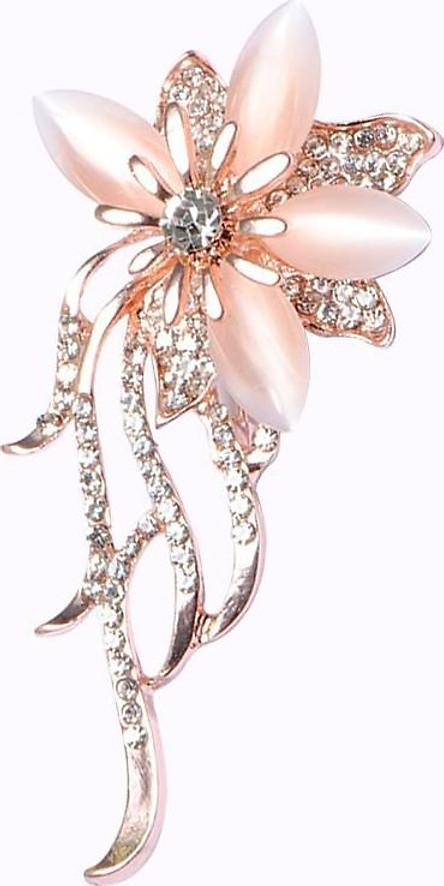 Trâm Cài Áo Hoa Quỳnh Đính Đá Sapphire Dịu Dàng Nữ Quí Phái