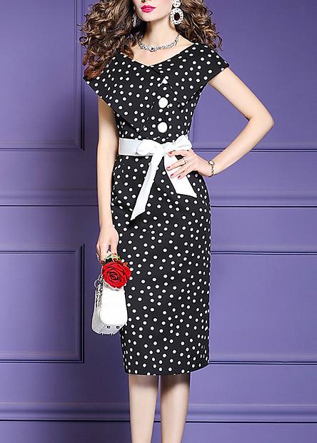 Đầm ôm dự tiệc kiểu đầm ôm chấm bi phối nút bọc ROMI 3058