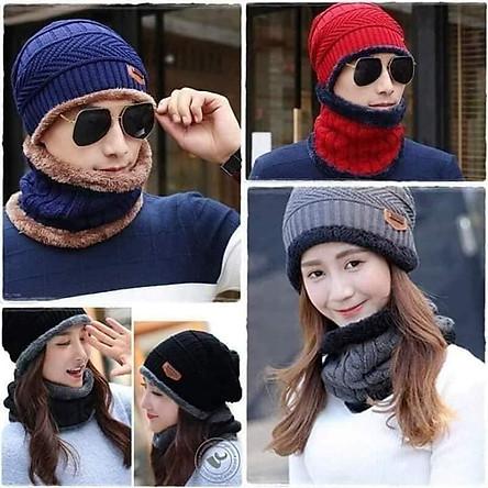 Mũ len nam nữ kèm khăn quàng cổ lót lông( giao mầu ngẫu nhiên) tặng kèm 1 đôi gang tay nỉ nam