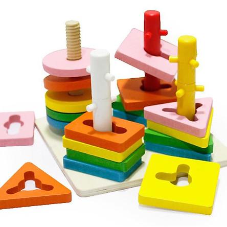 Đồ chơi trí tuệ - Xếp Hình Khối Màu Sắc Vào Cọc Xoắn