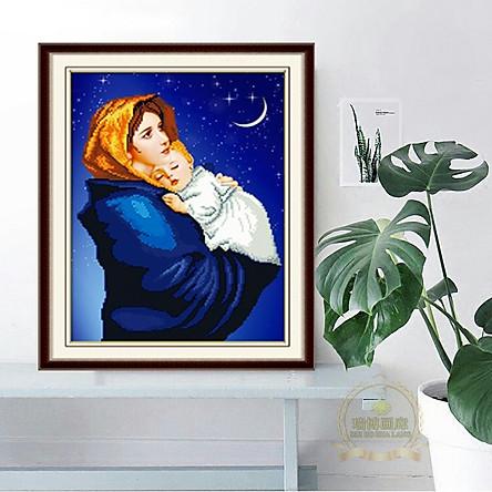 Tranh đính đá Đức Mẹ bồng Chúa LV140 – Chưa đính