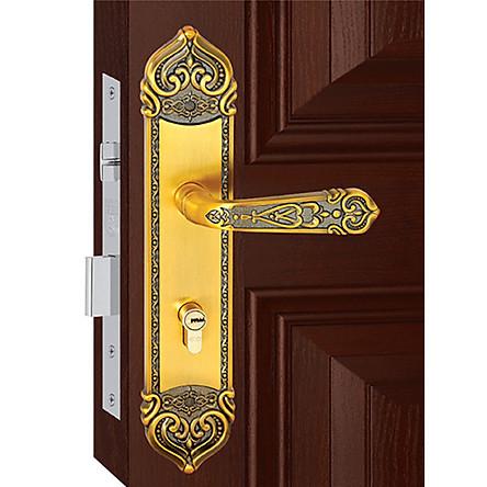 Ổ khoá cửa tay gạt Việt Tiệp 04941 làm từ hợp kim màu vàng dùng cho cửa chính cửa gỗ