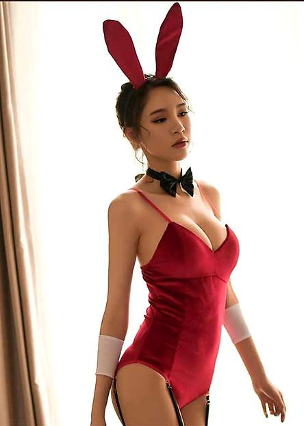 Bộ ngủ nhung liền thân bodysuit (kèm 1 tai thỏ nhung + 1 vòng cổ gắn nơ + 2 vòng tay + 4 kẹp vớ) vô cùng sexy BS04, Đồ ngủ cosplay gợi cảm, Freesize