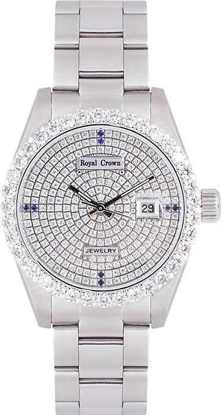 Đồng hồ nam chính hãng Royal Crown 3662M dây thép mặt full đá
