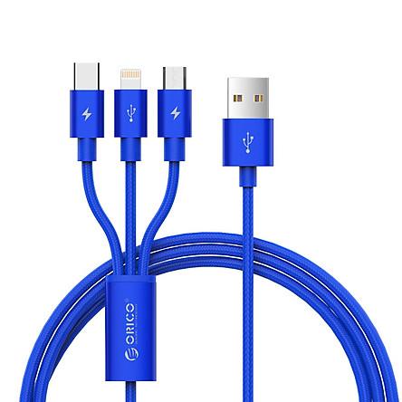 Dây Cáp Dù Sạc Điện Thoại 3 Đầu Lightning/Micro USB/Type C Orico UTS-12-BK (Đen) - Hàng Chính Hãng