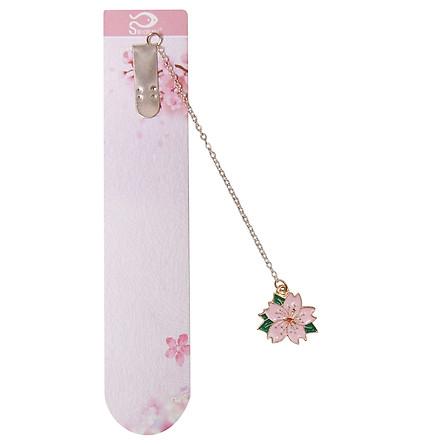 Bookmark Kẹp Sách Kim Loại Phối Charm Hình Hoa Sakura - Mẫu 1