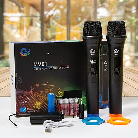Micro Không Dây Karaoke Vietstar, 2 Mic Chuyên Dành Cho Mọi Loa Kéo, Âm Ly, Tần Số 50. Model MV01, Hàng Nhập Khẩu