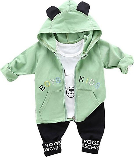 Autumn Baby Boy Clothes 3pcs Long Sleeve Animal Print T-shirt+Hoodie Letters Sweatshirt+Trousers Casual Outfits