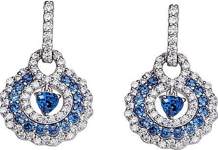 Bông tai bạc đính đá màu xanh dương PNJSilver Fantasia ZTXMK000114