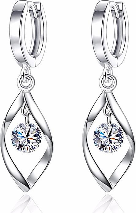 Hoa tai bạc 925 đính đá pha lê trắng lấp lánh (HT.A4.B)