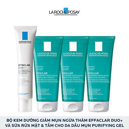 Bộ Kem dưỡng giảm mụn thông thoáng lỗ chân lông và ngừa thâm La Roche Posay Effaclar Duo+ 40ml và Gel rửa mặt dành cho da dầu mụn Effaclar gel 50ml