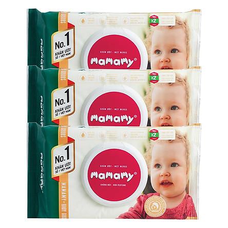 Combo 3 Gói Khăn Giấy Ướt 100 Tờ Không Mùi Kháng Khuẩn An Toàn Cho Bé Mamamy ( 100 Tờ Nắp x 3)