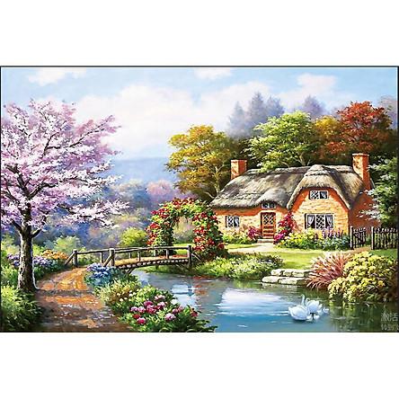 Tranh đính đá Phong Cảnh ngôi nhà thơ mộng ( chưa đính) - AL88638 - 100x67cm