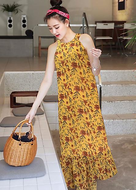 Đầm Maxi Hoa Cổ Yếm Chân Váy Phối Bèo - GT2057