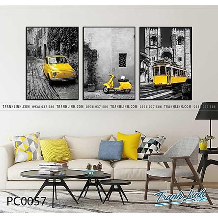 Bộ 3 tranh canvas điểm đừng chân tone màu vàng đen