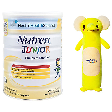 Sản Phẩm Dinh Dưỡng Y Học Nutren Junior Lon 800g + Tặng Gối Ôm Con Voi