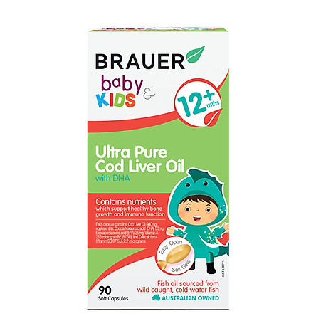 Dầu gan cá tuyết siêu tinh khiết kết hợp DHA Brauer cho bé trên 1 tuổi (90 viên)