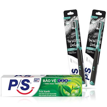 Combo P/S Kháng Khuẩn & Thanh Nhiệt : Kem Đánh Răng Trà Xanh 240G + 2 Bàn Chải Đánh Răng White Detox