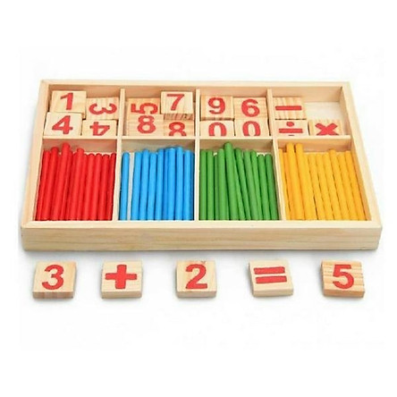 Bộ que tính học toán  bằng gỗ