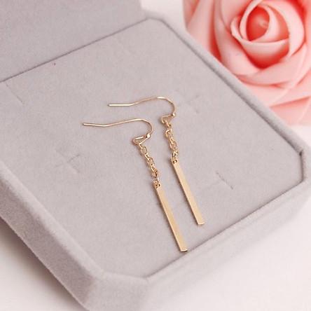 Hoa tai dài bằng kim loại mạ vàng đơn giản dễ thương cho nữ