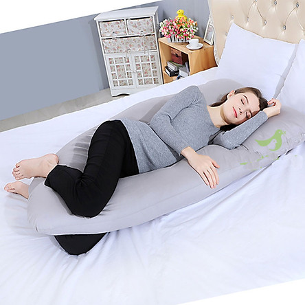 Gối Ôm Chữ U Cho Bà Bầu Ngủ Ngon, Giảm Chuột Rút, Tê Chân UB19 - màu xám