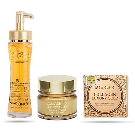 Combo 3 Sản phẩm dưỡng da ngừa lão hoá toàn diện 3W Clinic Collagen & Luxury Gold (Essence, Cream, Hydrogel Eye & Spot Patch)