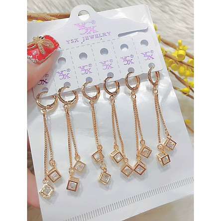 Đôi bông tai nữ mạ vàng  ( 01 đôi ) chuôi dài ô vuông 060252021 - Bền Màu - Mang đi chơi đi tiệc rất đẹp
