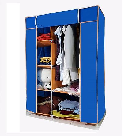 Tủ vải  quần áo loại 2 buồng 6 ngăn, khung thép không gỉ - giao màu ngẫu nhiên( Hàng Việt Nam)