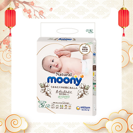 Bỉm dán Moony Natural size S 58 miếng