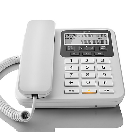 Gigaset telephone landline fixed telephone office home large screen large button free battery caller ID original Siemens DA160 (white)