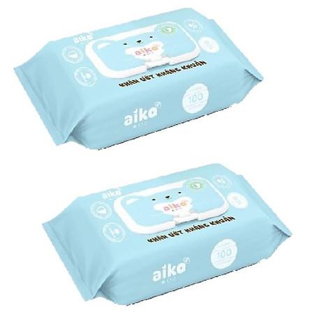 Combo 2 gói khăn giấy ướt Aiko kháng khuẩn xanh ( 100 tờ / gói )