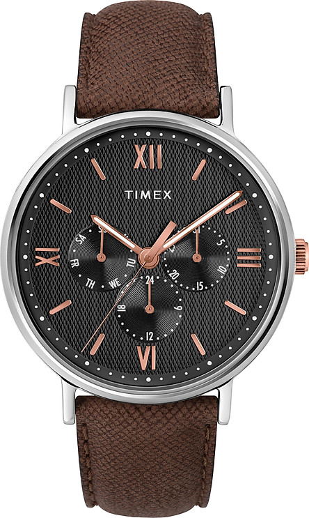 Đồng hồ Dây Da Nam Timex Southview 41mm Silver-tone Case Black Dial Brown Leather Strap- TW2T35000