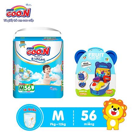 Tã Quần Goo.n Premium Cao Cấp Gói Cực Đại size M56 (56 Miếng) + Tặng Bộ đồ chơi vali trái cây (nhiều màu)