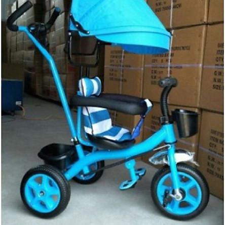 Xe đạp 3 bánh cần đẩy có bàn đạp, mái che, bảo hiểm, để chân - màu cho bé gái