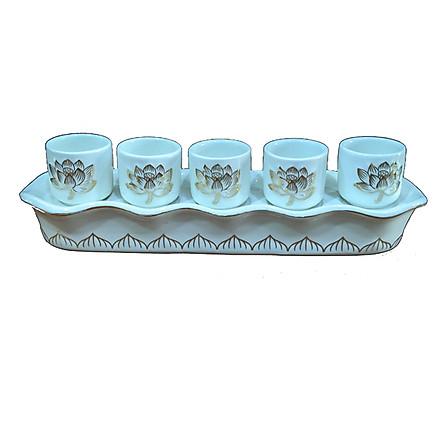 Bộ Khay để 5 ly nước Bạch Ngọc trắng(30cm x 7cm x 8cm) PT0243