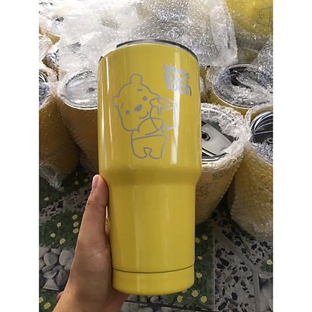 Ly giữ nhiệt Thái Lan 900ml _ tặng 2 ống hút inox + 1 túi xách + 1 cọ rửa ống hút _ gấu vàng