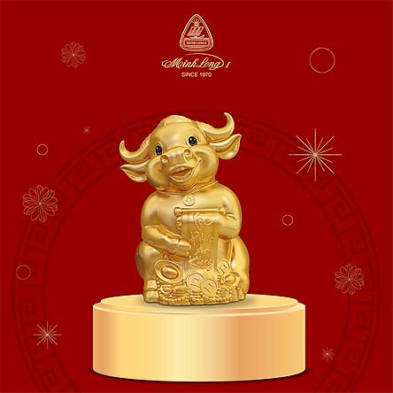 Trâu Hạnh Phúc Trang Trí Vàng 24K Gốm Sứ Minh Long