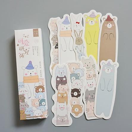 Hộp 30 Bookmark đánh dấu sách hội động vật cute BM008