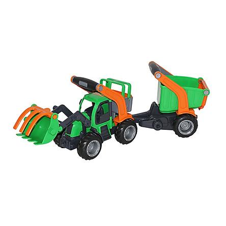 Xe xúc đồ chơi kết hợp xe kéo GripTrac - Wader Toys (Mẫu ngẫu nhiên)