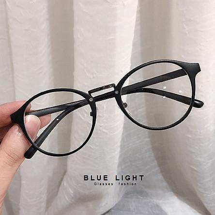 Kính Giả Cận, Gọng Kính Cận Nam Nữ Mắt Tròn Gọng Nhựa Đen Nhám Siệu Nhẹ Không Độ Hàn Quốc - BLUE LIGHT SHOP