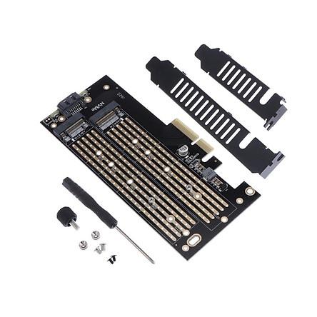Phép Màu Sáng Kép M2 NVME (M-Chìa Khóa) và SATA (B-Chìa Khóa) SSD sang PCI-E 3.0x4 Card Điều Khiển