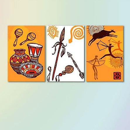 Bộ 3 Tranh Canvas Viền Composite Treo Tường Phong Cách Thổ Dân W560