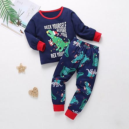 Autumn Children Toddler Baby Kids Girls Boys Long Sleeve Letters Print Blouse+Cartoon Pants Pajamas Sleepwear Set