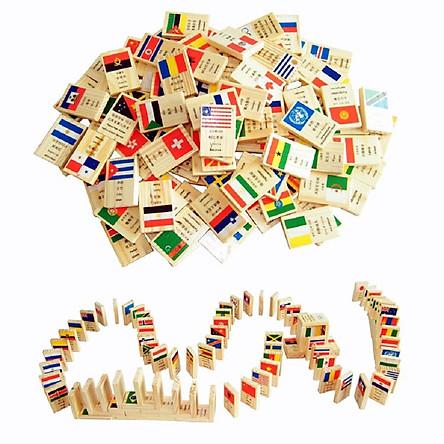 Đồ chơi gỗ Bộ Domino 100 hình quốc kì - TotdepreHG2031